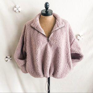 AEO Fuzzy Sherpa 1/4 Zip Cropped Sweatshirt Mauve
